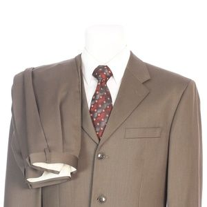 Jones New York Three Button Solid Brown Wool Suit